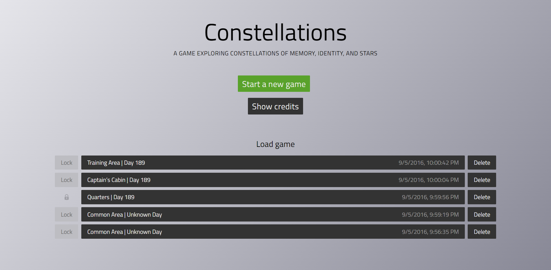 Constellations menu screen